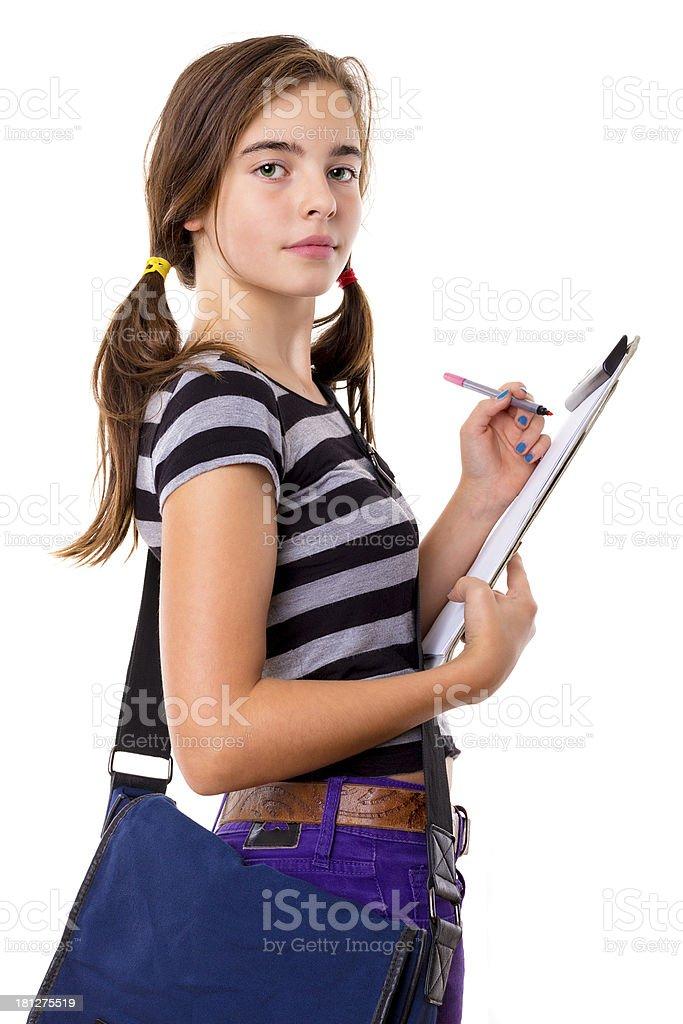 Teenager-Mädchen Schreiben Zwischenablage, isoliert auf weiss – Foto