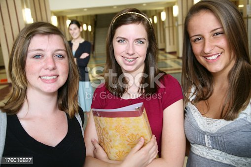 639569206 istock photo Teenage Girls at School with Teacher in the Background 176016627