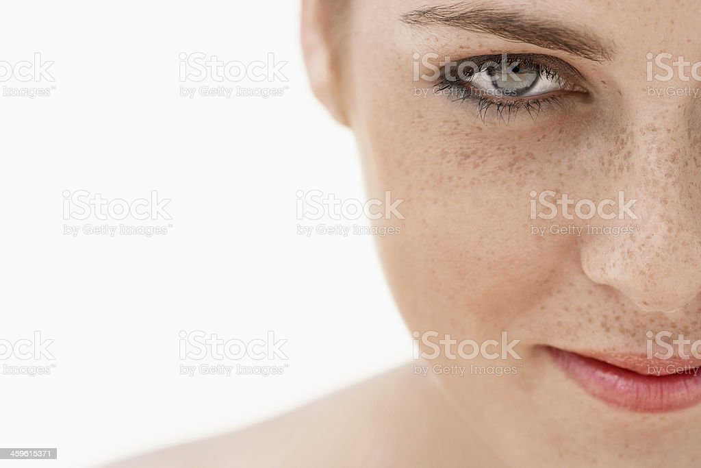 Teenage Girl's Face With Freckles stock photo