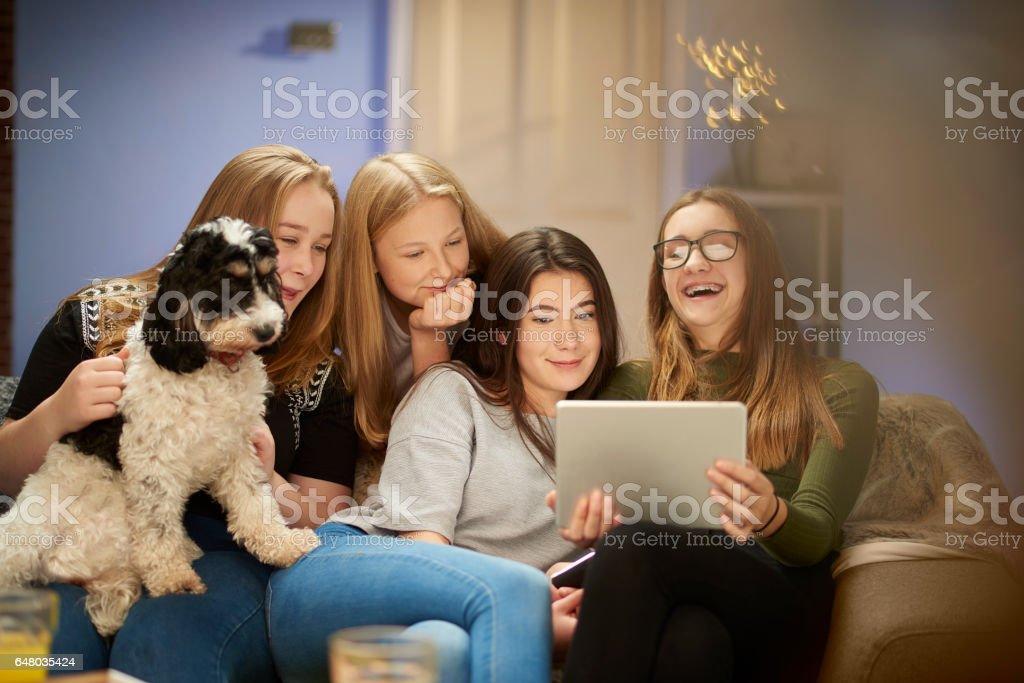 teenage girls hanging out stock photo