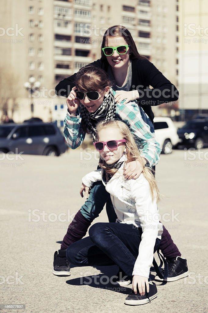Teenage girls on the city street royalty-free stock photo