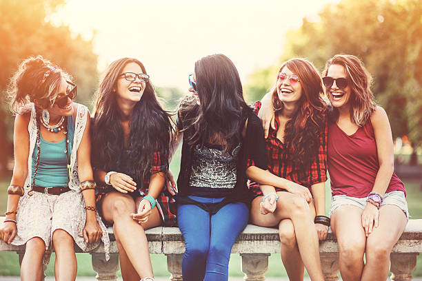 Teenage girls stock photo