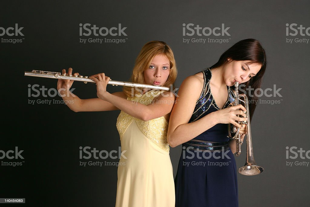 Teenage Girls with Musical Instruments royalty-free stock photo