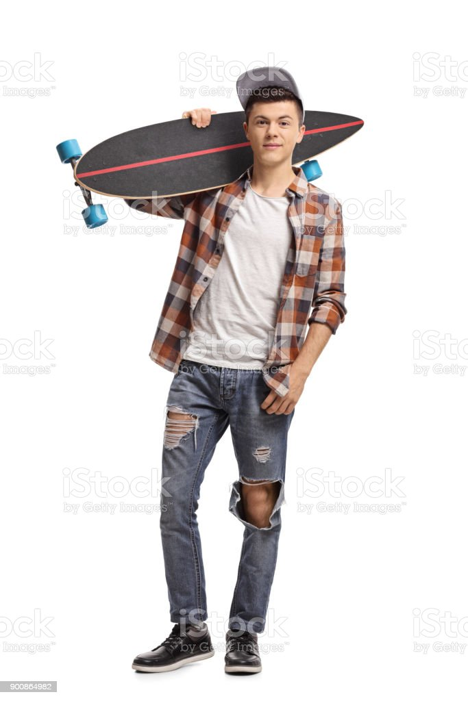 Teenage hipster with a longboard stock photo