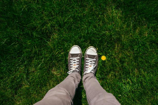 Teenager Beine in Turnschuhen üppige Frühling Gras – Foto
