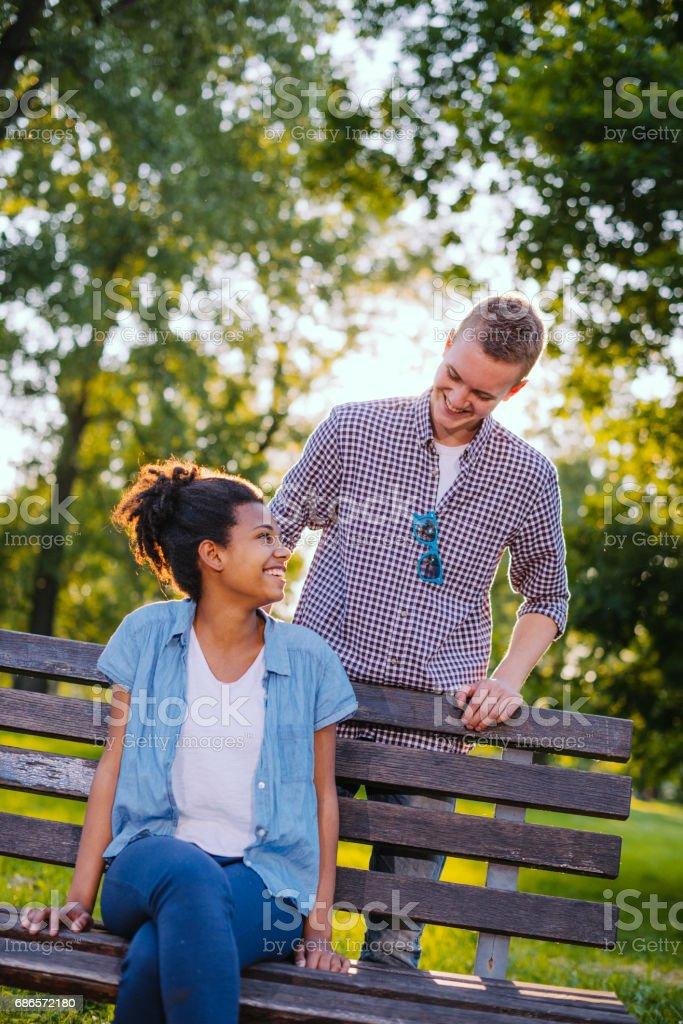 Teenage love and flirt zbiór zdjęć royalty-free