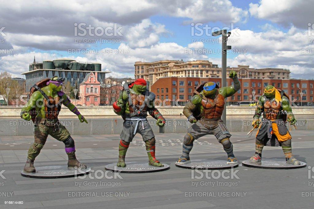 Teenage mutant ninja turtles figures in the park Muzeon in Moscow stock photo