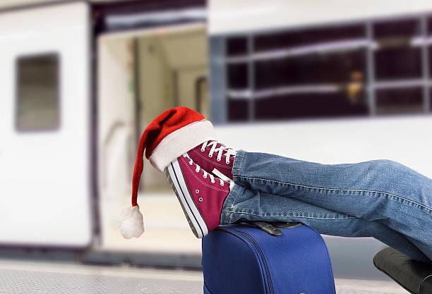 teenage passenger in christmas - festzugskleidung stock-fotos und bilder
