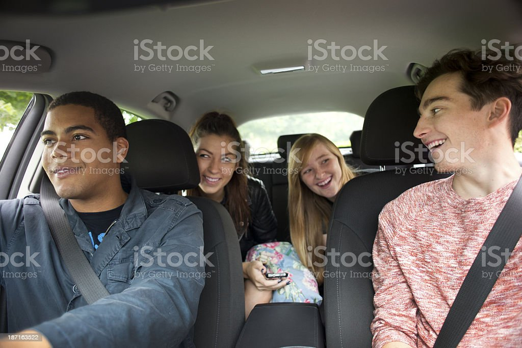 teenage road trip stock photo