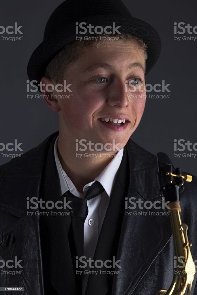 Teenage Saxophonist royalty-free stock photo