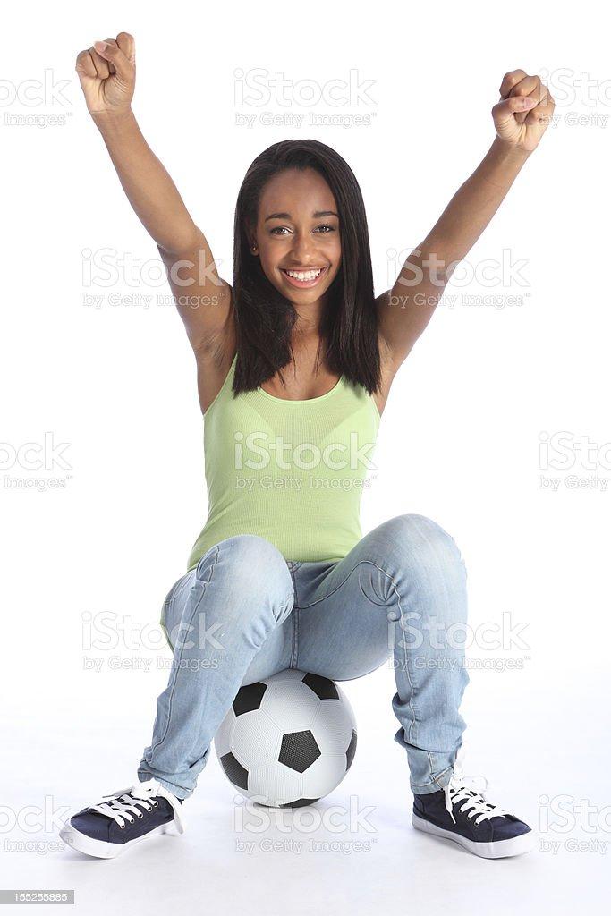 Teenage sports girl celebrates soccer success royalty-free stock photo