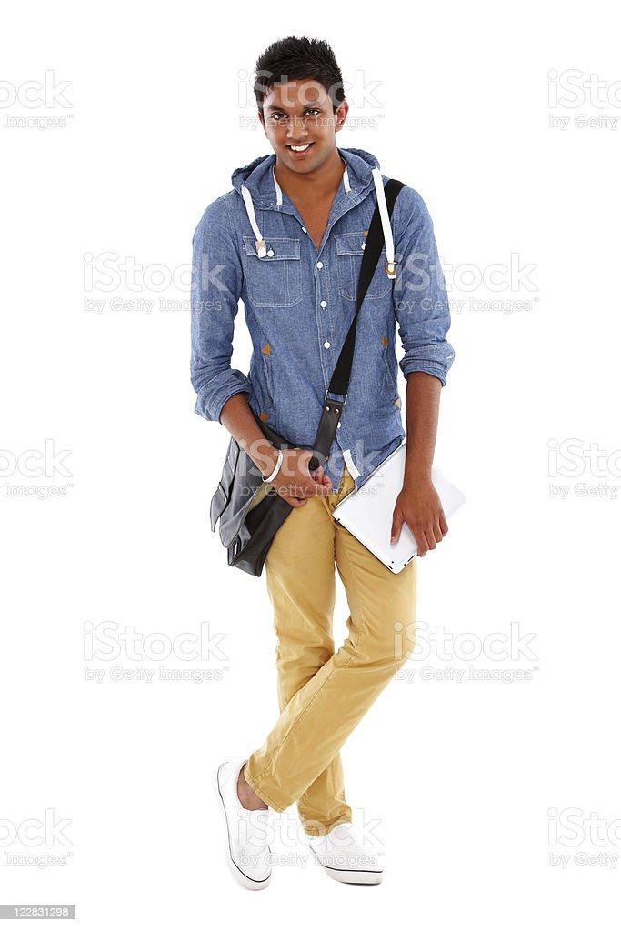 Teenager-Student mit Laptop-Tasche und eine isolierte – Foto