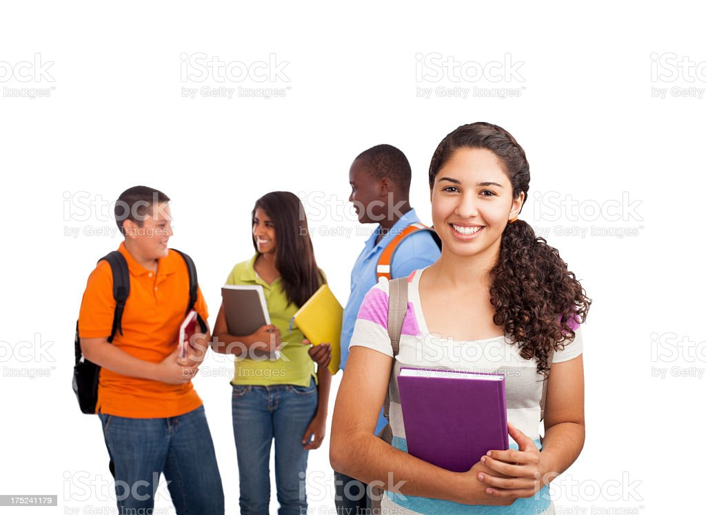 Teenage student with classmates on the background royalty-free stock photo