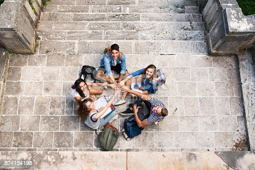 824257318 istock photo Teenage students at the stone steps in front of university. 824154198