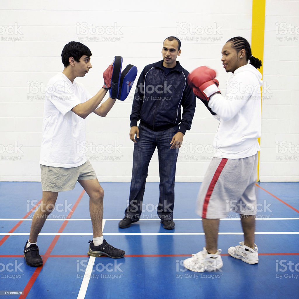 teenage students: boxing practice royalty-free stock photo