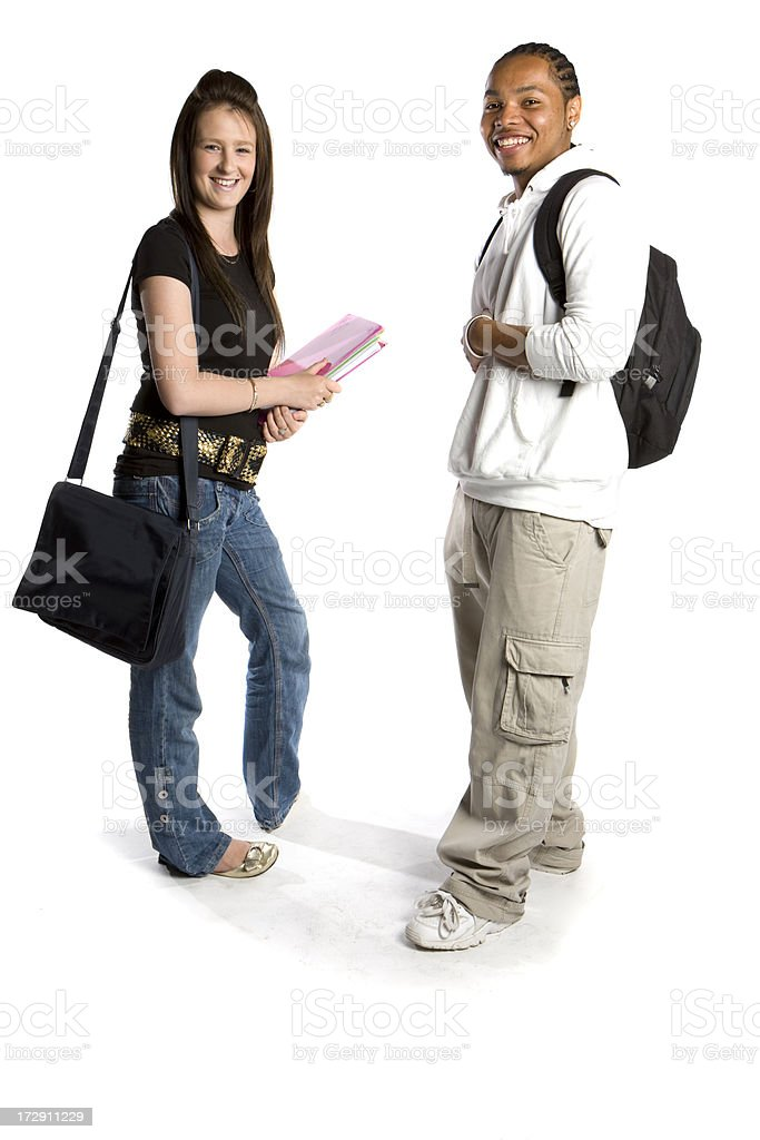 teenage students: friendly smiles from a pair of school friends royalty-free stock photo