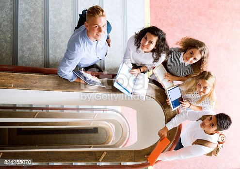 824257318 istock photo Teenage students on stairs in high school. 824255070