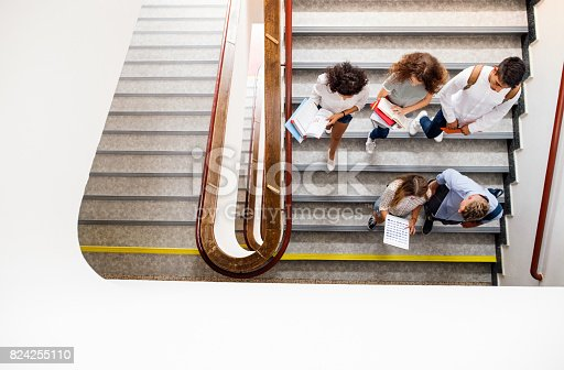 824257318 istock photo Teenage students on stairs in high school. 824255110