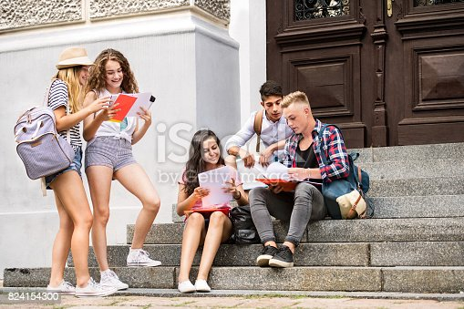 824257318 istock photo Teenage students sitting on stone steps in front of university. 824154300