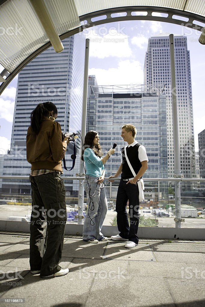 teenage students: TV interview during a media studies session royalty-free stock photo