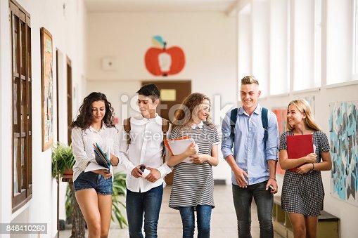 824257318 istock photo Teenage students walking in high school hall, talking. 846410260