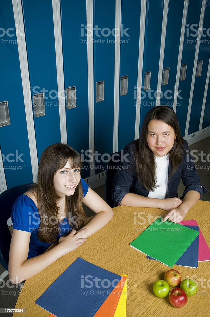 Teenaged Students in Highschool Cafeteria royalty-free stock photo