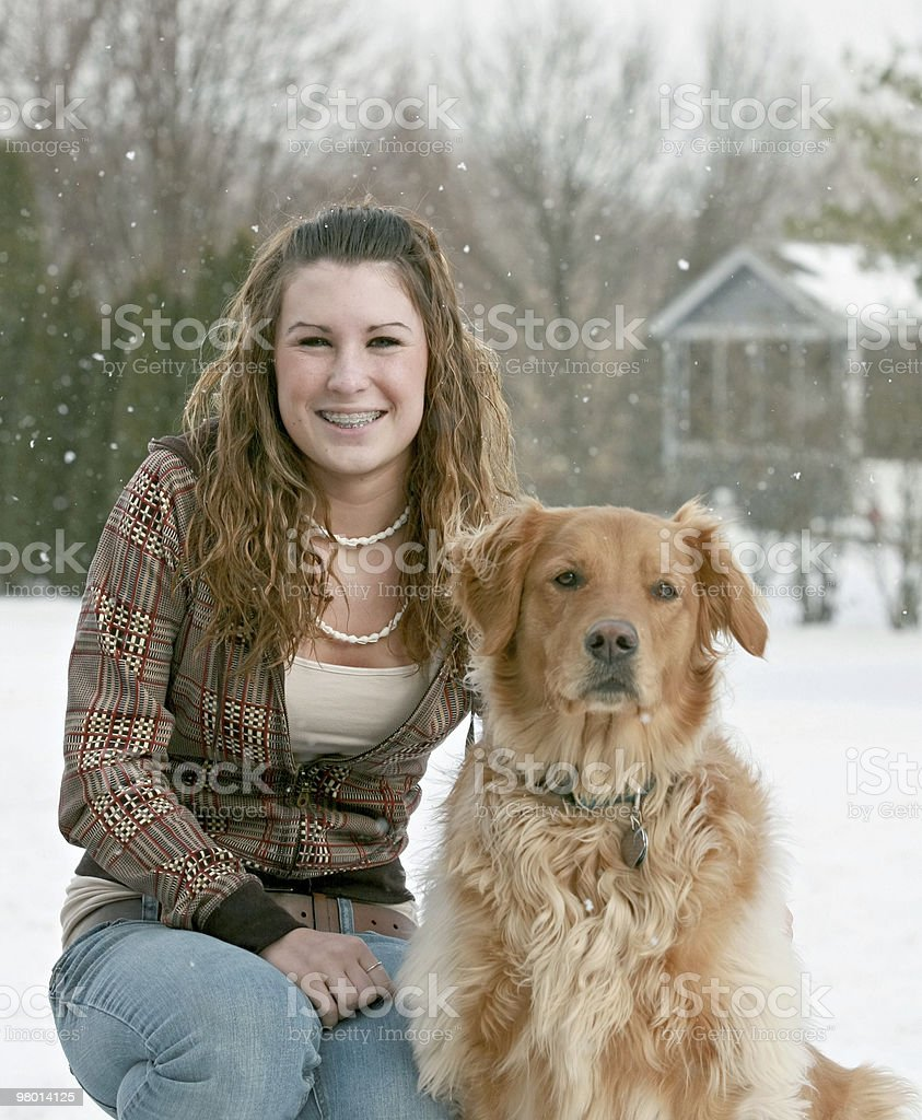 Teenager and Dog royalty-free stock photo