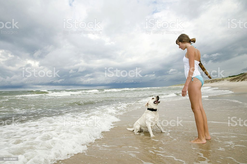 Teenager and labrador retriever playing on the beach royalty-free stock photo