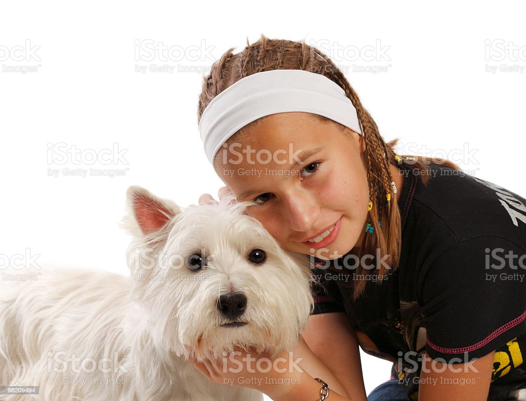 Teenager and westie royalty-free stock photo