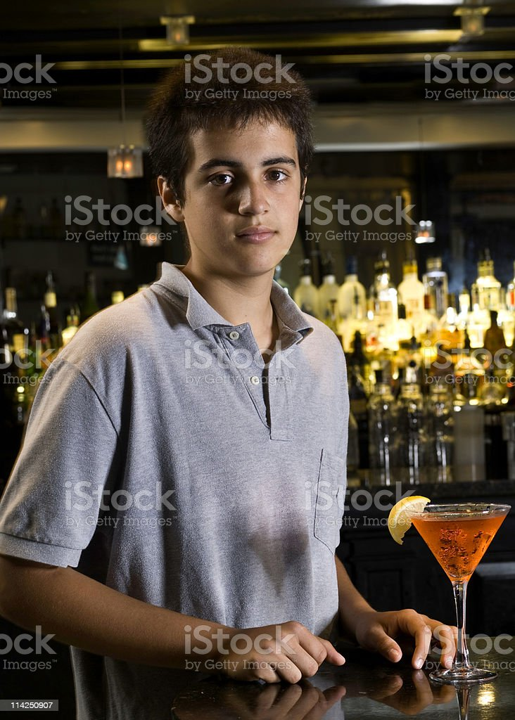 Teenager at the Bar stock photo
