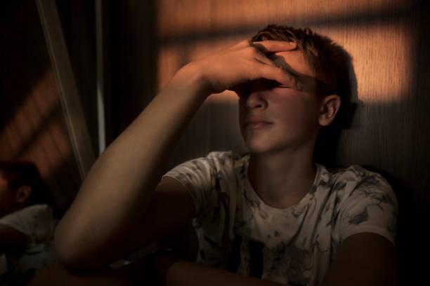 Teenager Boy Under Stress stock photo