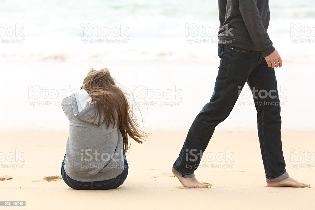 Teenager couple breaking up ending relation stock photo