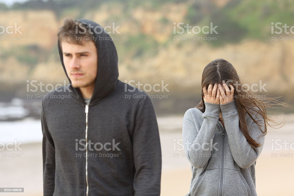 Teenager couple breaking up stock photo