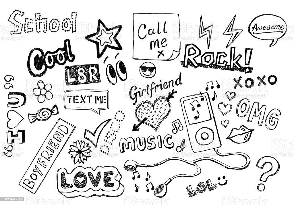 Teenager doodles stock photo