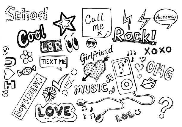 Teenager doodles stock photo