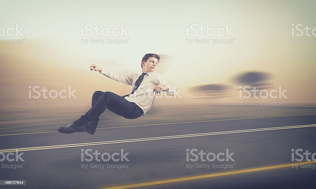 Teenager drive an invisible car stock photo