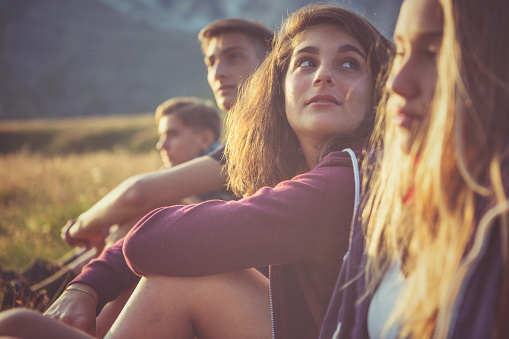 Teenager Friends Portrait At Sunset Stock Photo - Download Image Now