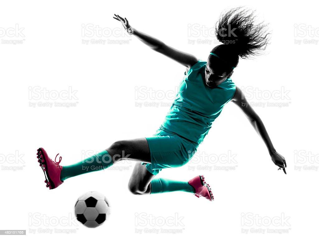Teenagermadchen Kind Fussballspieler Isoliert Silhouette
