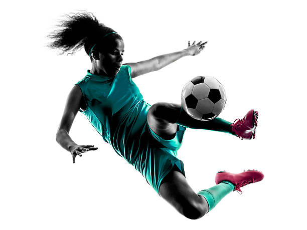 teenager girl child  soccer player isolated silhouette - athlete stock photos and pictures