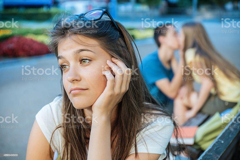 Teenager girl crying stock photo