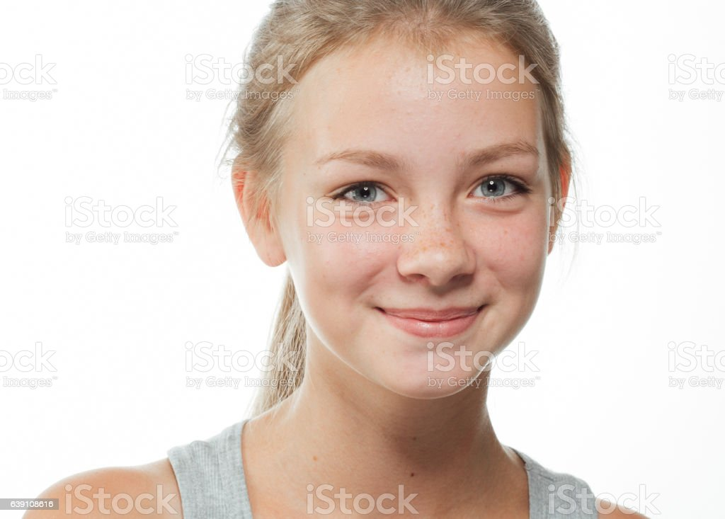 Teenager girl cute beautiful freckles face on white – Foto