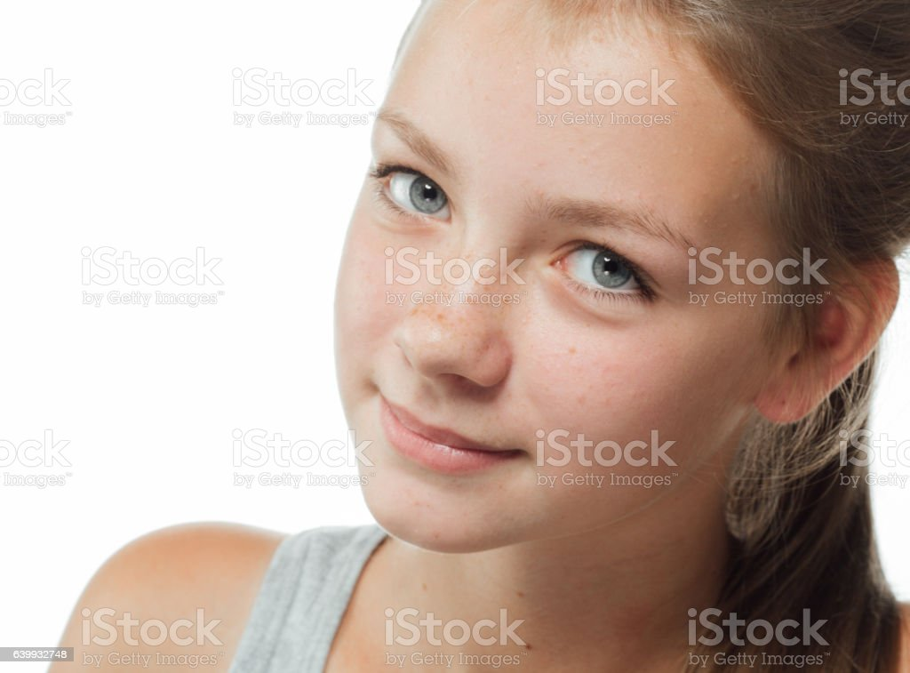 Teenager girl cute beautiful freckles face on white stock photo