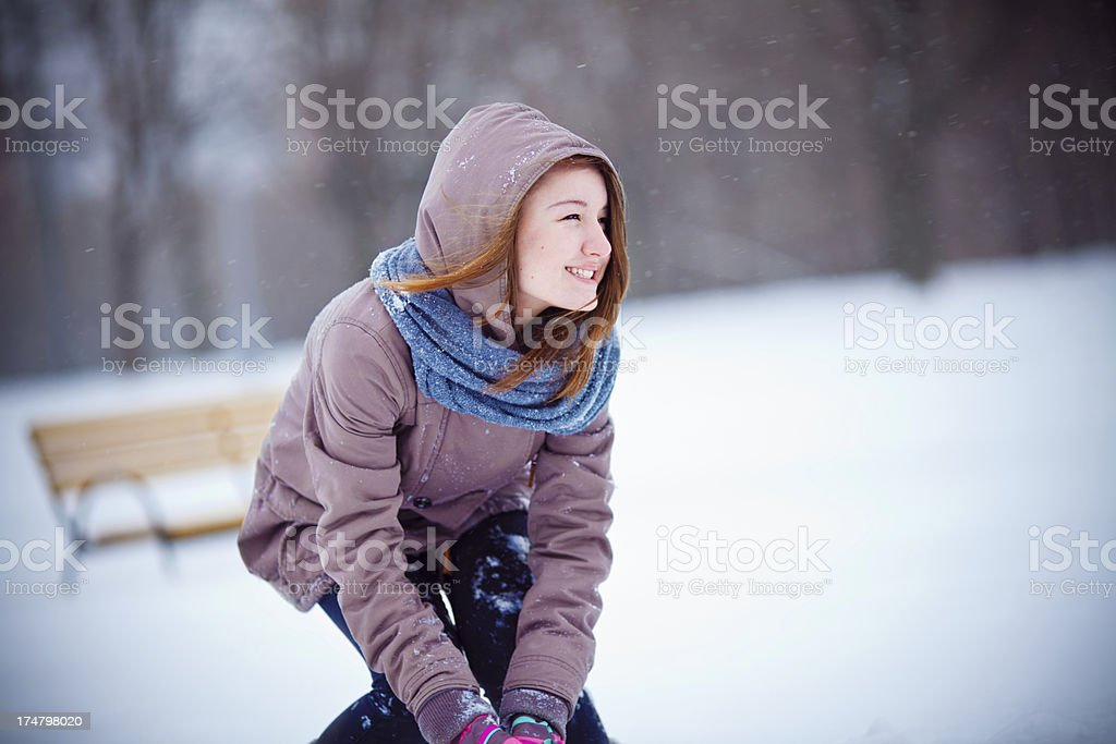 Teenager Girl enjoying winter royalty-free stock photo