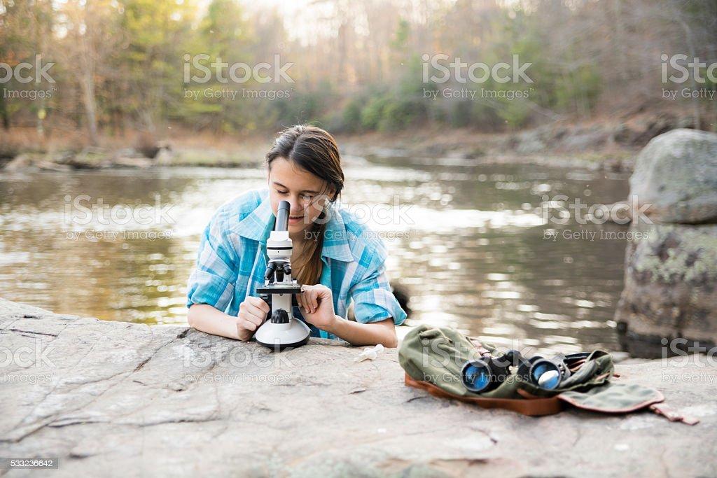 Teenager girl explore nature in Poconos, Pennsylvania stock photo