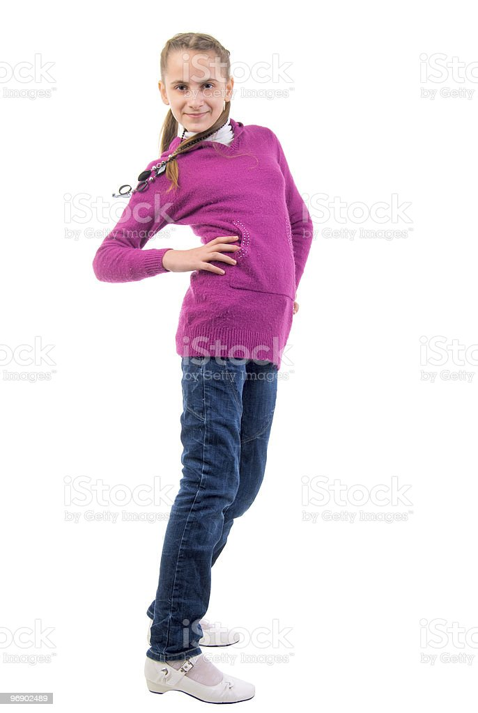 Teenager Girl In Purple. On The Movie. royalty-free stock photo