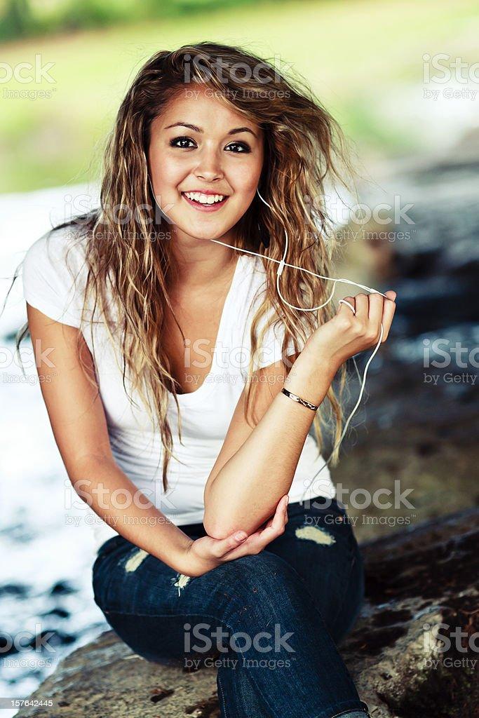 Teenager Girl Listening Music royalty-free stock photo