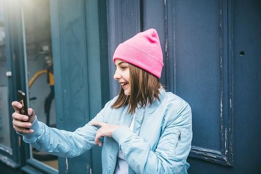 Teenager girl make selfie