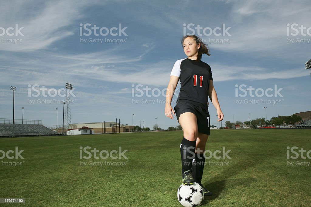Teenager girl soccer player royalty-free stock photo
