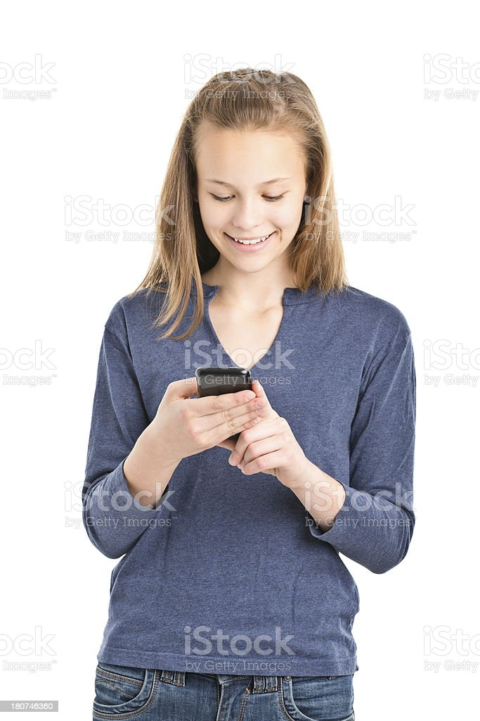 teenager girl standing with mobile phone royalty-free stock photo