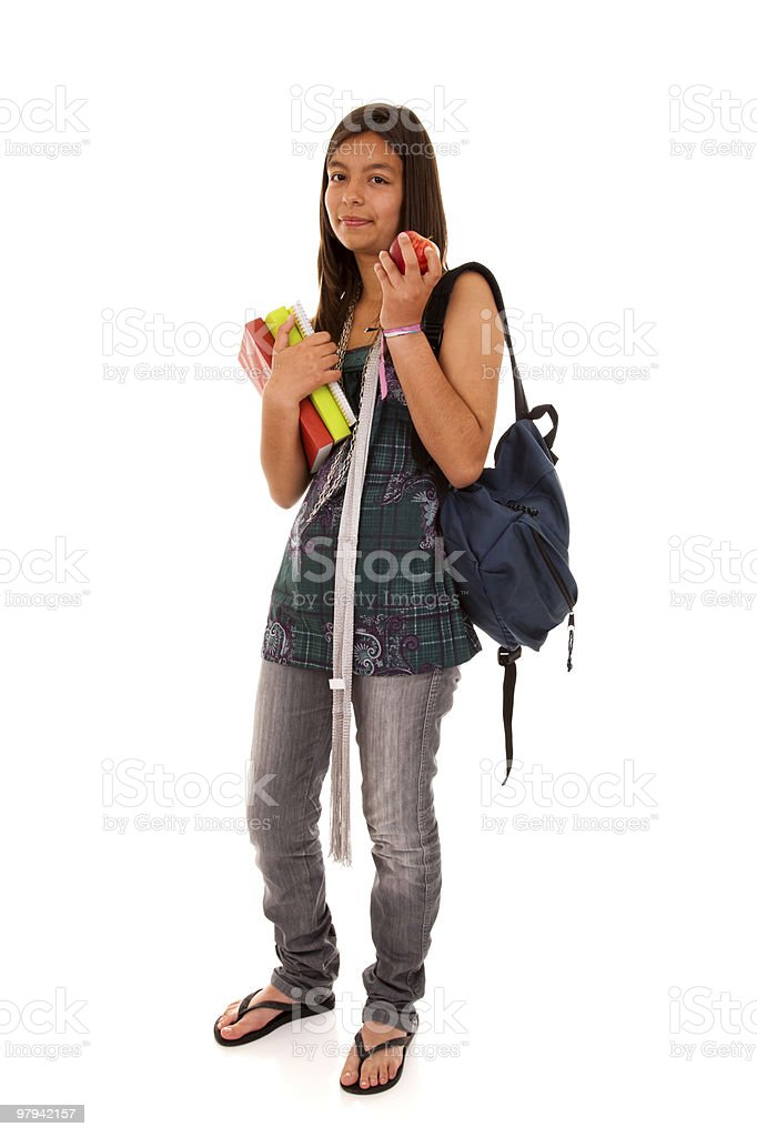 Teenager going back to school royalty-free stock photo